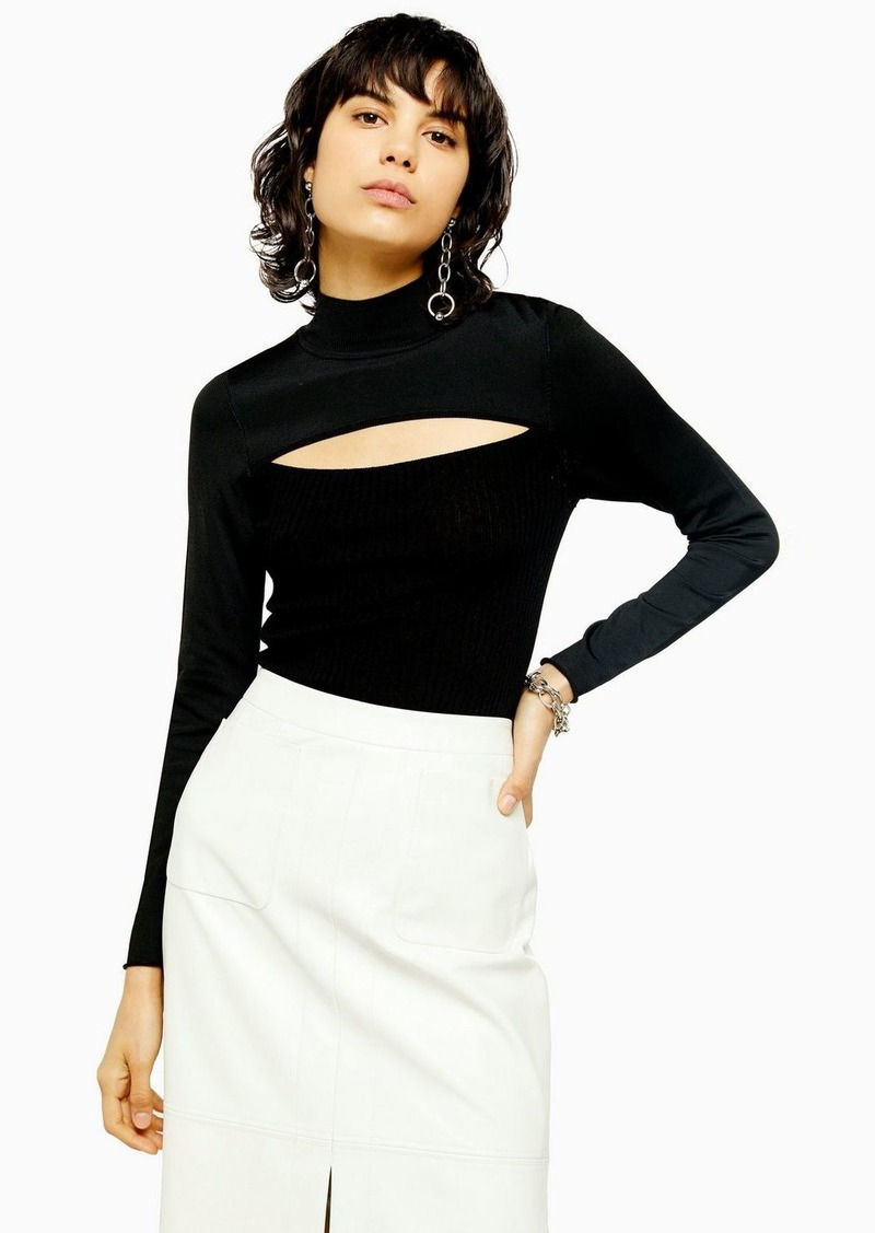 Topshop Idol Spliced Front Fine Knitted Top