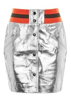 Sport Metallic Leather Mini Skirt