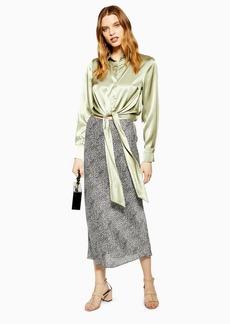 Topshop Spot Animal Bias Midi Skirt
