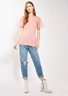 Topshop Spot Mesh Belted Batwing Top