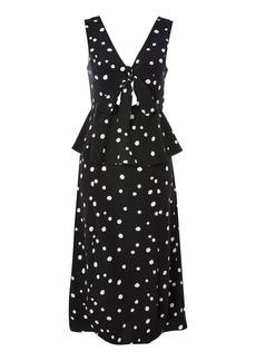 Topshop Spot Peplum Cut Out Midi Dress