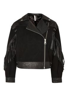 Stand Out Embellished Leather Biker Jacket