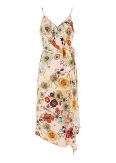 Star Floral Ruffle Slip Dress