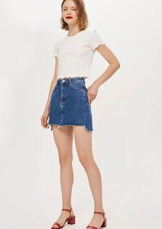 Topshop Stepped Hem Denim Skirt