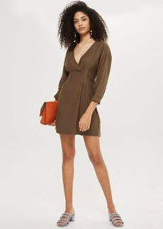 Topshop Stitch Detail Mini Wrap Dress