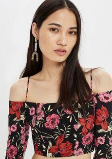 Topshop Strappy Floral Bardot Top