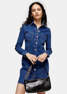 Topshop Stretch Denim Button Down Shirt Dress