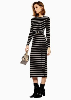 Topshop Stripe Belted Midi Bodycon Dress