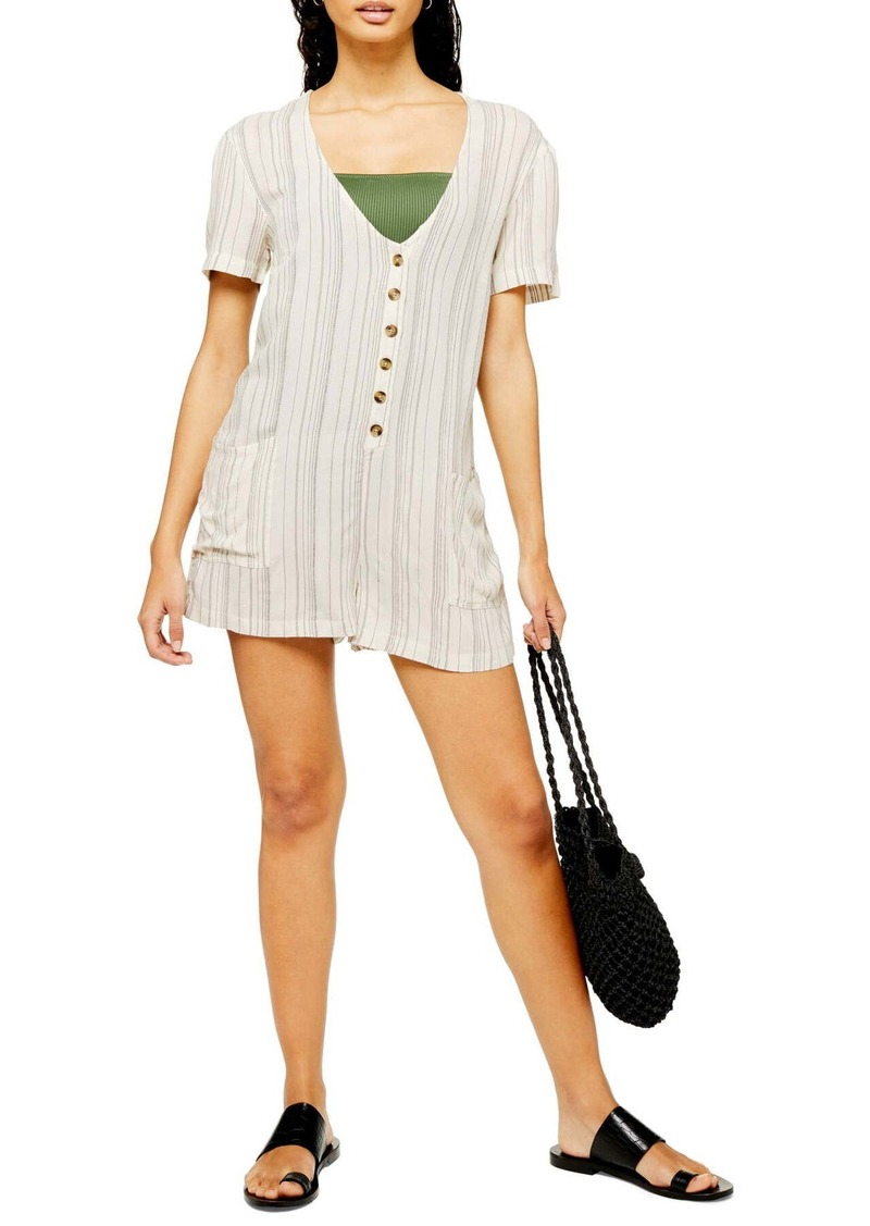 Topshop Stripe Button Front Cover-Up