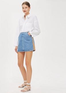 Topshop Striped A Line Denim Skirt