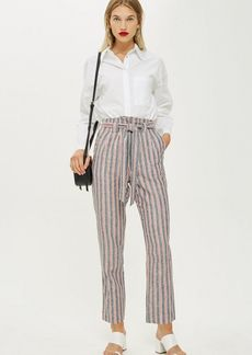 Topshop Striped Belted Peg Trousers