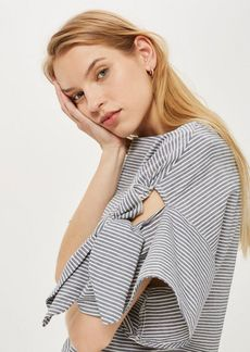 Topshop Striped Bow Sleeve T Shirt