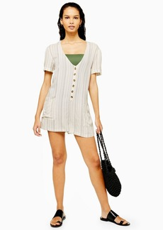 Topshop Striped Button Front Romper
