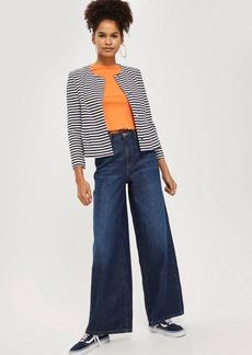 Topshop Striped Cropped Jersey Blazer