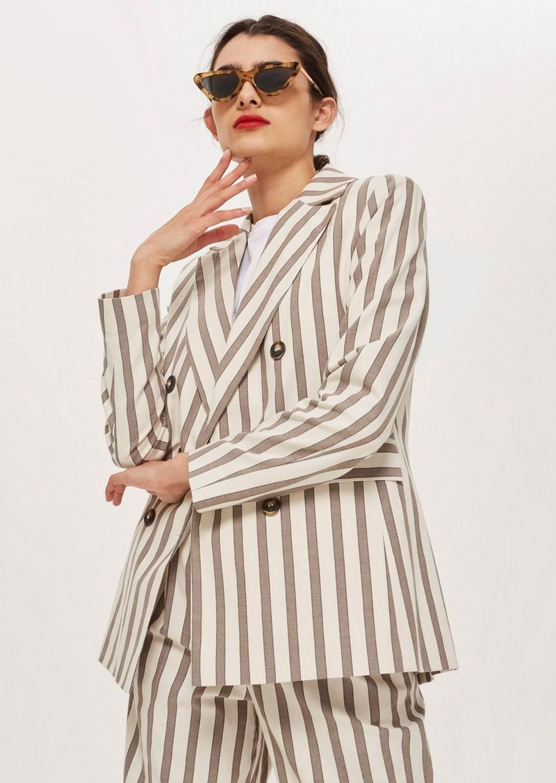 Topshop Striped Double Breasted Blazer