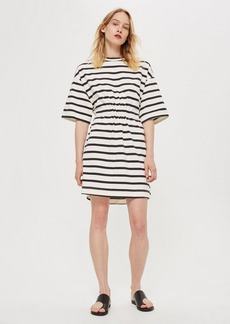 Topshop Striped Drawcord T Shirt Dress By Boutique