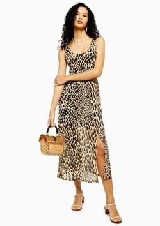 Topshop Tall Animal Print Mesh Tie Dye Midi Dress