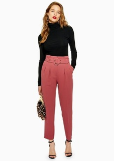 Topshop Tall Belted Eyelet Peg Trousers