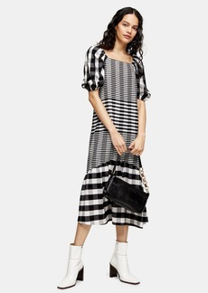 Topshop Tall Black And White Bubble Textured Midi Check Dress