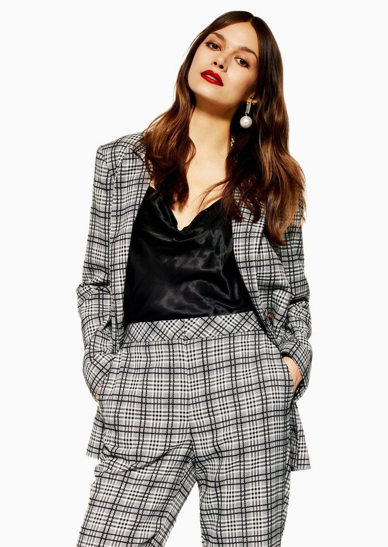 Topshop Tall Black And White Checked Jacket