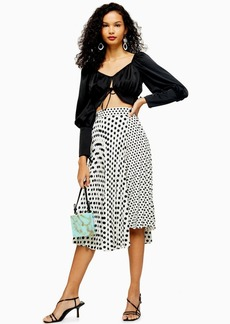 Topshop Tall Black And White Spot Pleat Midi Skirt