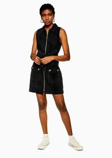Topshop Tall Black Horn Button Denim Collar Dress