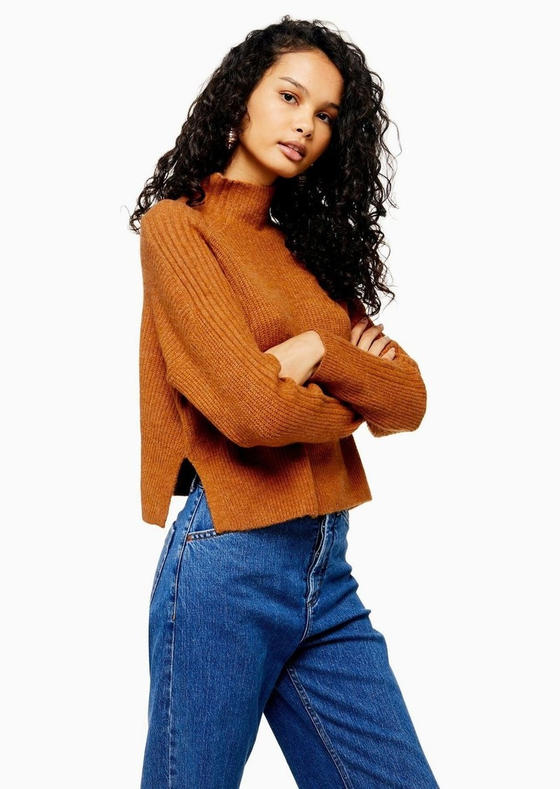 Topshop Tall Brown Knitted Cropped Funnel Neck Sweater