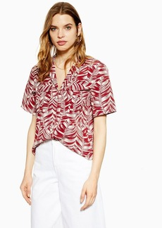Topshop Tall Burgundy Palm Print Bowler Blouse