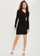 Topshop Tall Button Mini Bodycon Dress