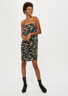 Topshop Tall Camouflage Print Midi Slip Dress