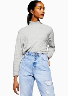 Topshop Tall Chunky Ribbed Cut And Sew Sweatshirt