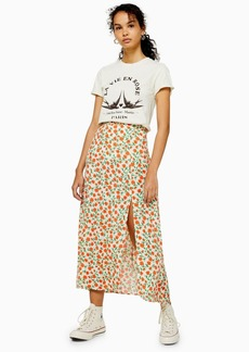 Topshop Tall Cream Double Split Floral Midi Skirt