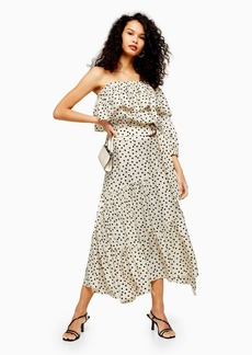 Topshop Tall Cream Spot Tiered Midi Skirt