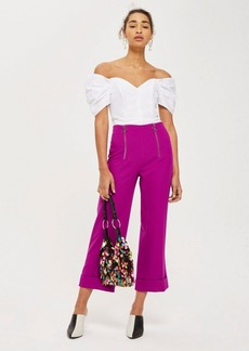 Topshop Tall Double Zip Cropped Wide Leg Pants