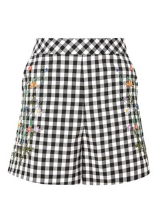 Topshop Tall Embroidered Gingham Shorts