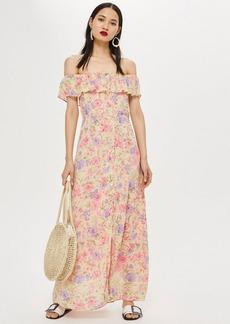 Topshop Tall Floral Bardot Maxi Dress