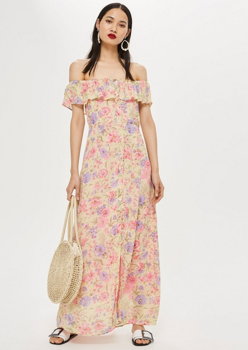 Topshop Tall Floral Bardot Maxi Dress