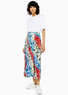 Topshop Tall Floral Box Pleat Midi Skirt