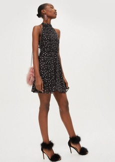 Topshop Tall Glitter Halter Dress