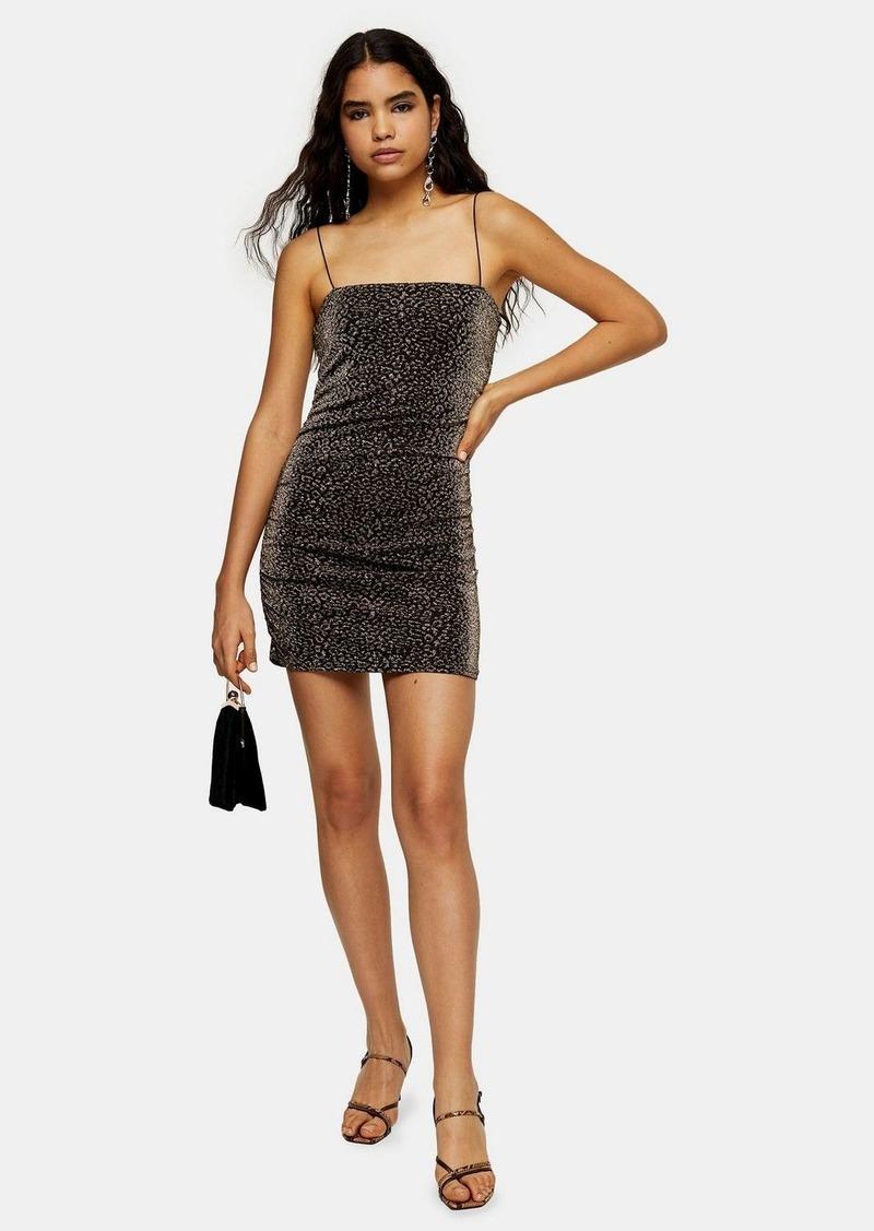 Topshop Tall Gold Glitter Metallic Thread Dress