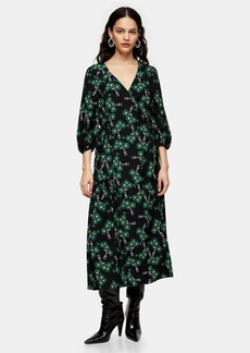 Topshop Tall Green Daisy Tie Wrap Midi Dress