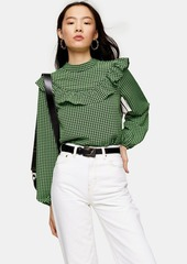 Topshop Tall Green Gingham Check Blouse