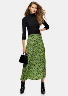 Topshop Tall Green Paisley Tiered Button Skirt