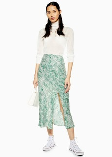 Topshop Tall Green Wavy Animal Satin Bias Skirt
