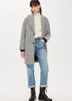 Topshop Tall Herringbone Check Coat