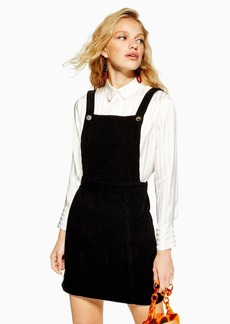 Topshop Tall Horn Button Corduroy Pinafore Dress