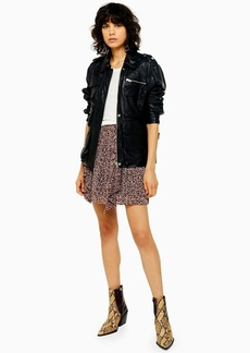 Topshop Tall Idol Leopard Print Ruffle Mini Skirt