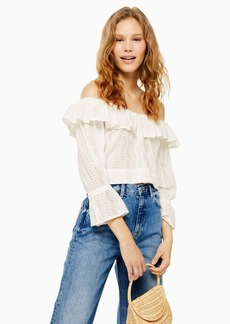 Topshop Tall Ivory Broderie Bardot Top