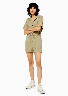 Topshop Tall Khaki Button Utility Playsuit