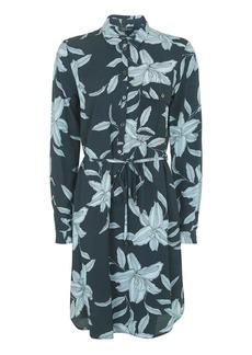 Topshop Tall Leaf Print Shirt Dress
